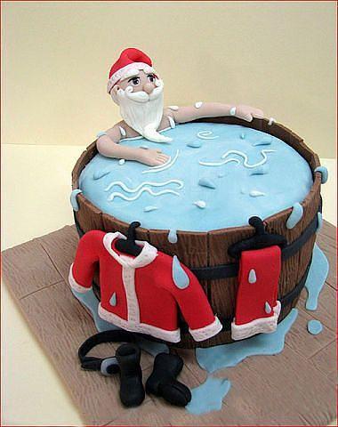 Père Noel dans son bain